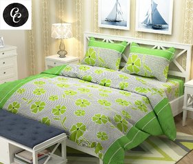 Delite Floral 3D Print Green Double Bedsheet with 2 Pillow Covers Green