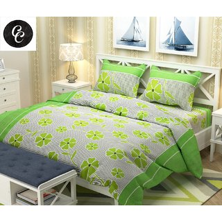 Choco Creation Green 3D Like Cotton Double Bedsheet with 2 Pillow Covers Green