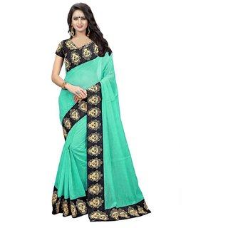 Pari Designerr Green Chanderi Cotton Lace work designer saree