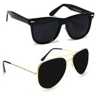 Combo Of Meia Black Wayfarer Aviator Uv Protection Sunglasses