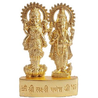 Goldcave Pack of 1 Gold Plated Metal Ganesh Laxmi Idols 7Cms