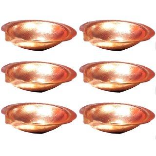 Goldcave 6 cm Pure Copper Diya - Set of 6
