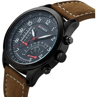 2016 New Fashion Curren Branded Wristwatch Leather Strap Military Wrist Watch By Hans