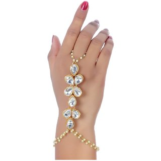 Lucky Jewellery Elegant White Color Gold Plated Finger Ring Bracelet Hand Harness Hathphool For Girls  Women
