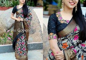 Svb Saree Multicolour Bhagapuri Silk Saree With Blouse Piece