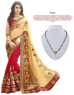 Embroidered Georgette Saree With Blouse (Beige & Red)
