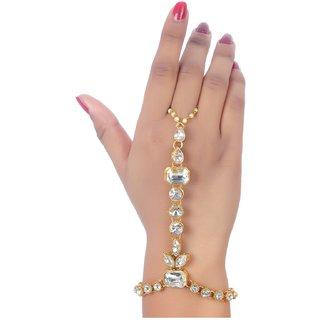 Lucky Jewellery Elegant White Color Gold Plated Finger Ring Bracelet Hand Harness Hathphool For Girls  Women