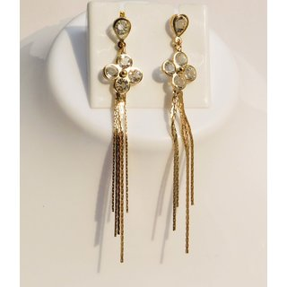 Party Wear Gold Plated Fancy Earrings with Stone (1 Pair)