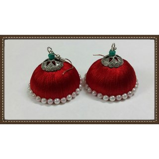 Red color silk thread earrings large size for party