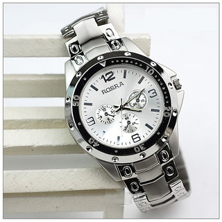 NG Rosra Round Dial Silver Metal Strap Quartz Watch For Men
