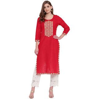 Pinky Pari Casual Embroidered Women'S Kurti  (Red)