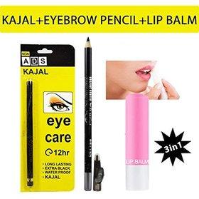 3 in 1 Makeup Combo Of ADS Kajal, Eyebrow Pencil And Lip Balm