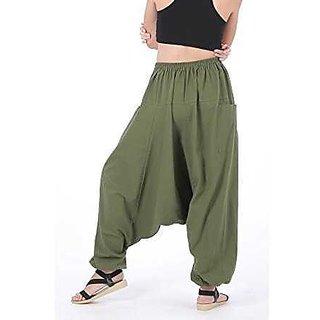 Rayon Green Harem Pants for Women