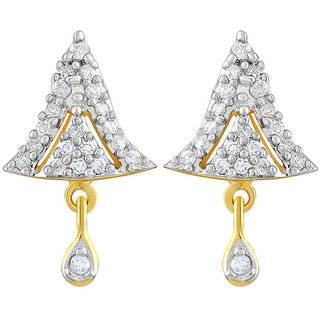 Asmitta Designer Trapezium Shape American Diamond Gold Plated Dangle Earring For Women