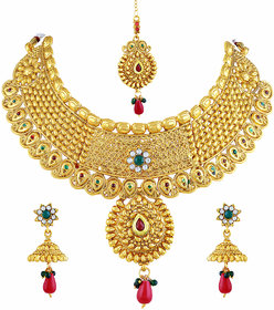 Asmitta Dazzling Flower Design Gold Plated Choker Style Necklace Set With Mangtikka For Women