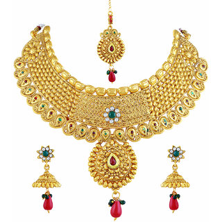 e2613809d3ac6 Buy Asmitta Dazzling Flower Design Gold Plated Choker Style Necklace Set  With Mangtikka For Women Online - Get 77% Off
