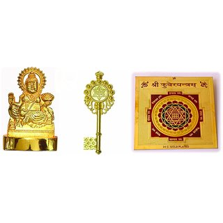 Combo of Kuber Idol , Kuber Kunji and Kuber yantra for Wealth and Prosperity