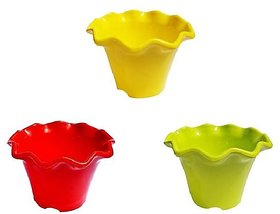 Set of 3 Multicolor Colored Plastic Pots for Plants Flower Design (4 Inch)