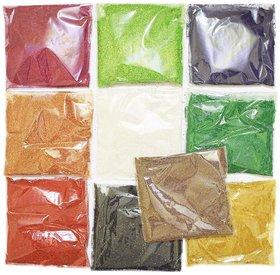 Burada ( Saw Dust) Rangoli Colours, Multicolored Set Of 10 Pkts, 45 Gms Each Packet