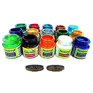 Pearl Fabric Colors ( Acrylic Color ) Multicolored Set Of 15 , 10 Ml Each Bottle + FREE 25 CM green hook  loop fastner tape
