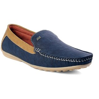 NYN Men's Blue Synthetic Leather Smart Casual Loafers