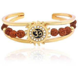OM Gold Plated Fashion Rudraksh Bracelet Kada For Men Boys