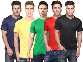 Concepts Men's Multicolor Solid Round Neck T-Shirt (Pack of 5)