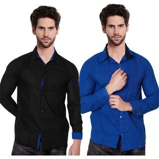 Balino London Men's Contrast Casual Shirts (Pack Of 2)