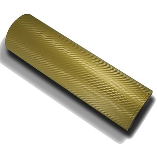 12x24 3D Golden Carbon Fiber Vinyl Car Wrap Sheet Roll Film Sticker Decal
