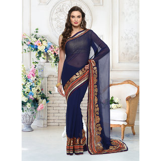 Designer Bahu Georgette Blue Plain Saree