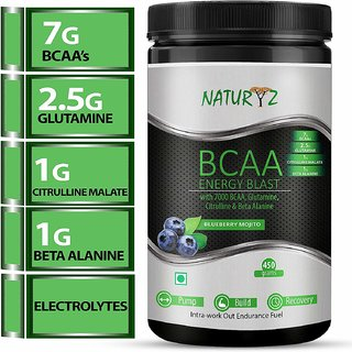 Naturyz BCAA ENERGY BLAST 211 ratio the complete Intra-Workout supplement (Blueberry Flavor) - 450gms with FREE SHAKER