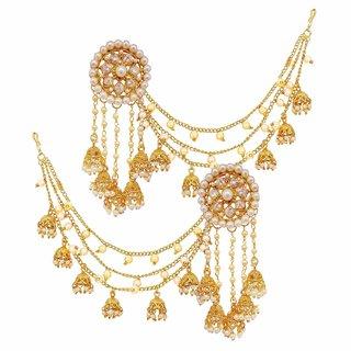 Charming jewelry Latest Bahubali Devsena AD Pearl Earring Ear Cuff Full Set