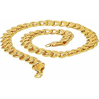 bazirao Men's Chain Fancy Handmade Latest  24k Gold Plated By Indian Goldsmith With 6 Months Warranty 22 inch Size