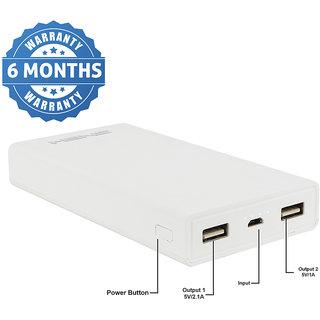HBNS High Speed Charging 6MI 2 USB Port 20000 Mah Power Bank (White)