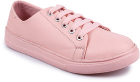 Do Bhai Women's Pink Lace-up Sneakers