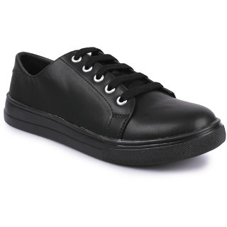 Do Bhai Women's Black Lace-up Sneakers
