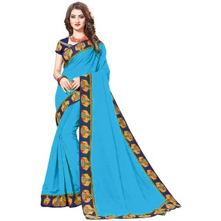 5801b6f2e06ff Buy Indian Beauty Sky Blue Lace Chanderi Cotton Saree With Blouse Sarees  Online - Get 69% Off