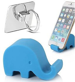 Combo of Elephant Mobile Stand and Ring mobile Holder (Assorted Colors)