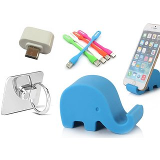 Combo of Elephant Stand, Ring, Led and Otg Adopter (Assorted Colors)