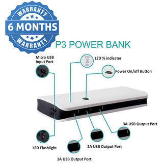 HBNS 3 USB Port P-3 15000 Mah Power Bank (Black) Suitable For Lenovo,Redmi,Oppo,Vivo,Samsung,HTC SmartPhones