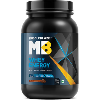 MuscleBlaze 100% Whey Energy Protein Supplement Powder with Vitamins & Minerals 1 kg 31 Servings (Chocolate)