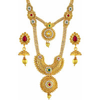 Asmitta Enchanting Gold Plated Opera Style Necklace Set For Women