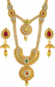 Asmitta Jewellery Enchanting Gold Plated Zinc Opera Style Necklace Set For Women