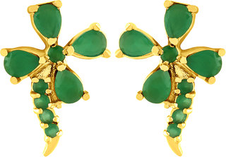 Asmitta Eye-Catchy Stud Gold Plated American Diamond Earring For Women