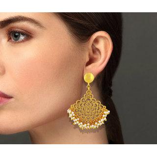 Asmitta Modern Gold Plated Dangle Earring For Women