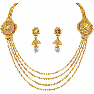 Asmitta Traditional Jewellery Set Gold Plated Rope Style Necklace Set For Women