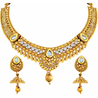 2b7b265e673dd Buy Asmitta Fashionable White Stone Gold Plated Choker Style Necklace Set  For Women Online - Get 77% Off