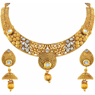 2b4de805ccb0b Asmitta Cluster White Stone Gold Plated Choker Style Necklace Set For Women