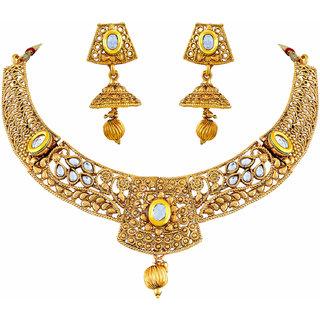 Asmitta Youthful White Kundan Gold Plated Choker Style Necklace Set For Women