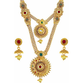 a68d4be481248 Buy Asmitta Eye-Catchy Gold Plated Opera Style Necklace Set For Women Online  - Get 77% Off